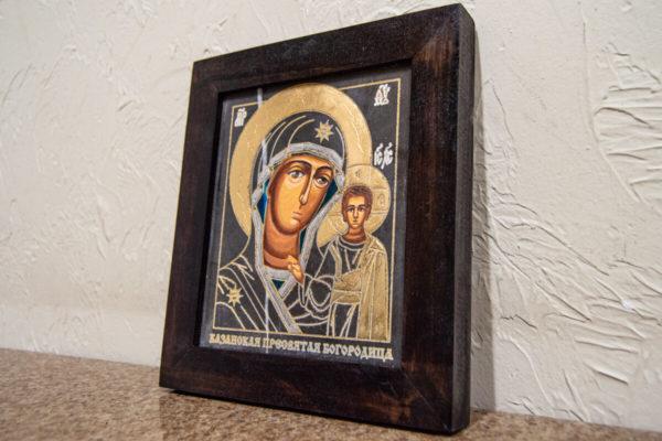 Икона Казанской Богоматери № 7 оформленная художественной эмалью или поталью, фото 2
