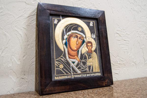 Икона Казанской Богоматери № 7 оформленная художественной эмалью или поталью, фото 3