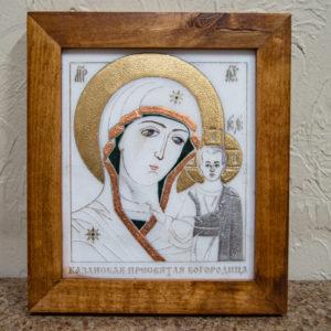 Икона Казанской Богоматери № 6 оформленная художественной эмалью или поталью, фото 1