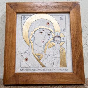 Икона Казанской Богоматери № 8 оформленная художественной эмалью или поталью, фото 1