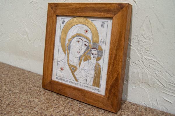 Икона Казанской Богоматери № 8 оформленная художественной эмалью или поталью, фото 2
