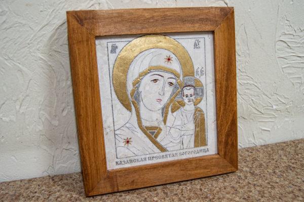 Икона Казанской Богоматери № 8 оформленная художественной эмалью или поталью, фото 3