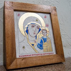 Икона Казанской Богоматери № 10 оформленная художественной эмалью или поталью, фото 3