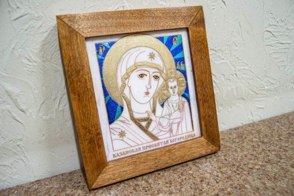 Икона Казанской Богоматери № 3 оформленная художественной эмалью или поталью, фото 3