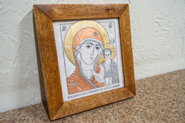 Икона Казанской Богоматери № 1 оформленная художественной эмалью или поталью, фото 2
