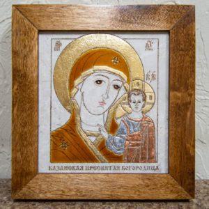 Икона Казанской Богоматери № 2 оформленная художественной эмалью или поталью, фото 1