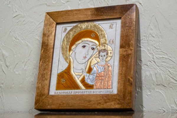 Икона Казанской Богоматери № 2 оформленная художественной эмалью или поталью, фото 2