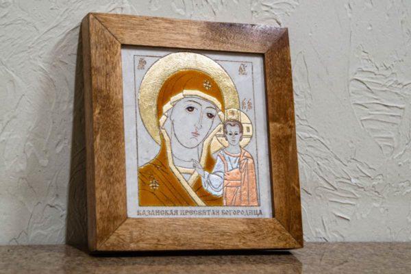 Икона Казанской Богоматери № 2 оформленная художественной эмалью или поталью, фото 3