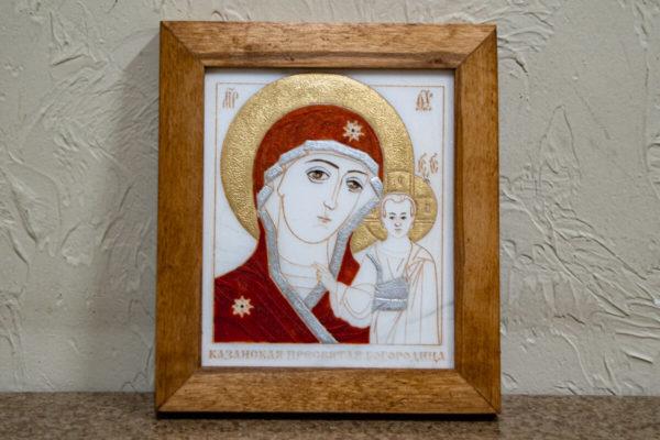 кона Казанской Богоматери № 4 оформленная художественной эмалью или поталью, фото 3