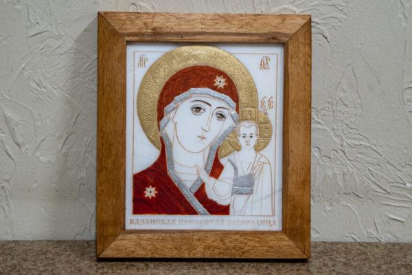 кона Казанской Богоматери № 4 оформленная художественной эмалью или поталью, фото 1