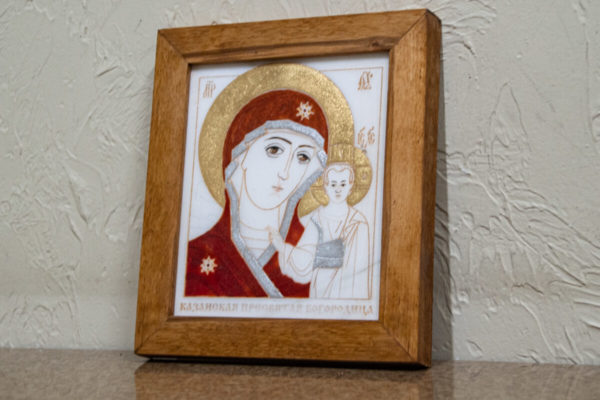 кона Казанской Богоматери № 4 оформленная художественной эмалью или поталью, фото 2