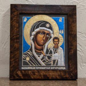 Икона Казанской Богоматери № 29, плоскостная гравированная икона, оформленная художественной эмалью или поталью, фото 1