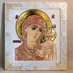 Икона Казанской Богоматери № 1.25-17 из мрамора от Гливи, фото сделано в фирменном салоне в Минске, изображение № 1