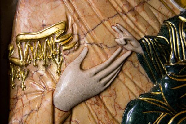 Икона Иверской Божией Матери (рельефная, храмовая) без № из мрамора, камня, от Гливи, фото 5