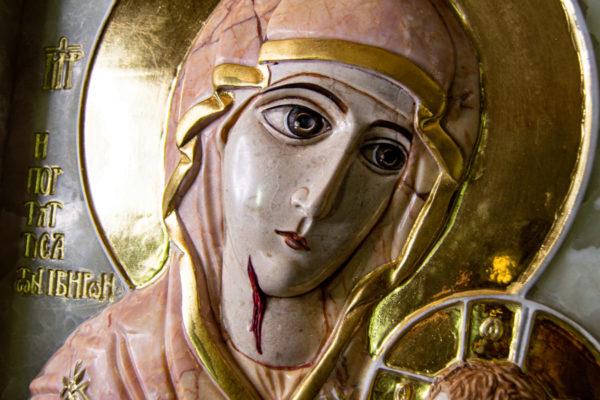 Икона Иверской Божией Матери (рельефная, храмовая) без № из мрамора, камня, от Гливи, фото 7