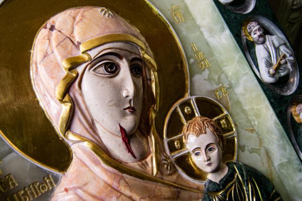 Икона Иверской Божией Матери (рельефная, храмовая) без № из мрамора, камня, от Гливи, фото 8