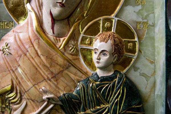 Икона Иверской Божией Матери (рельефная, храмовая) без № из мрамора, камня, от Гливи, фото 9