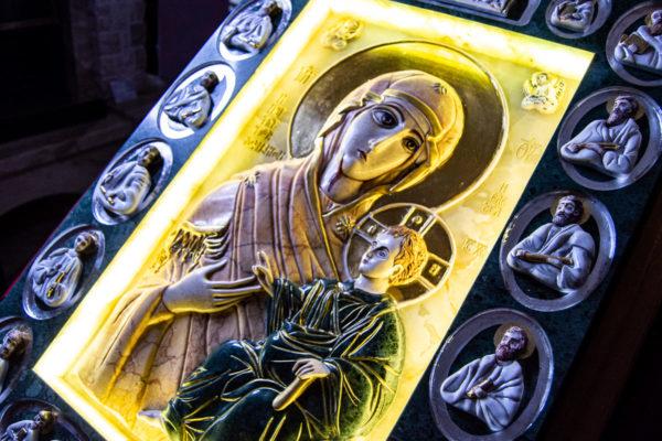 Икона Иверской Божией Матери (рельефная, храмовая) без № из мрамора, камня, от Гливи, фото 19