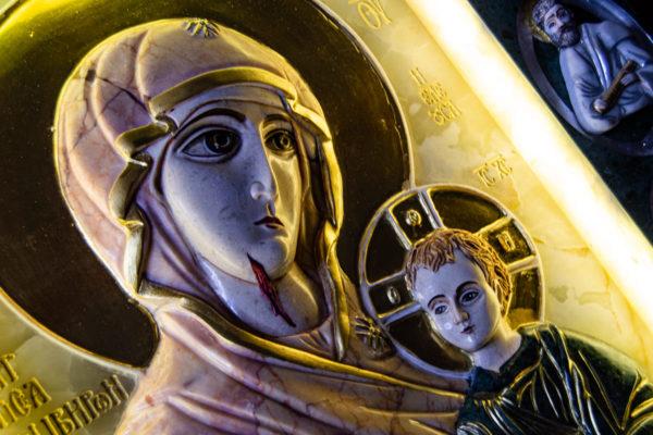 Икона Иверской Божией Матери (рельефная, храмовая) без № из мрамора, камня, от Гливи, фото 28