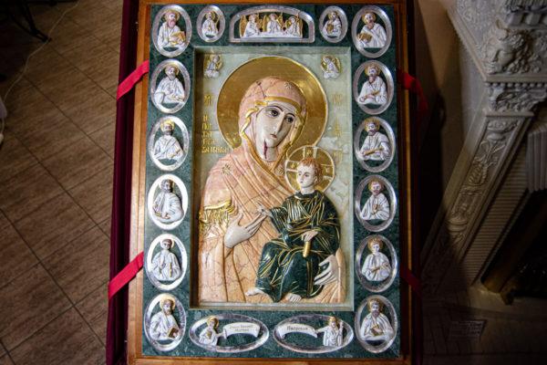 Икона Иверской Божией Матери (рельефная, храмовая) без № из мрамора, камня, от Гливи, фото 30