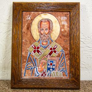 Икона Николая Чудотворца № 5-21 из мрамора, камня, от Гливи, фото 1
