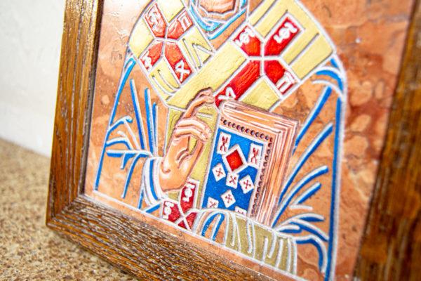 Икона Николая Чудотворца № 5-21 из мрамора, камня, от Гливи, фото 3