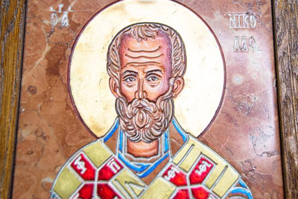 Икона Николая Чудотворца № 5-21 из мрамора, камня, от Гливи, фото 5