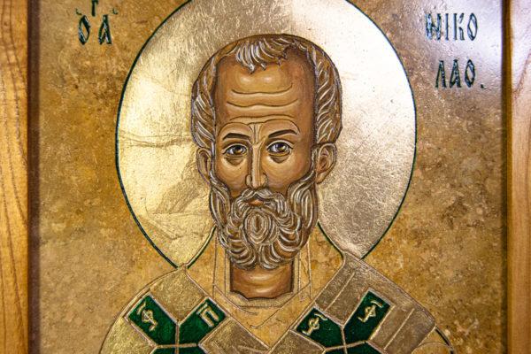 Икона Николая Чудотворца № 5-22 из мрамора, камня, от Гливи, фото 9