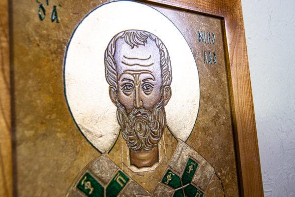 Икона Николая Чудотворца № 5-22 из мрамора, камня, от Гливи, фото 6