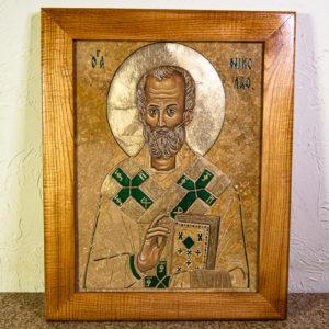 Икона Николая Чудотворца № 5-22 из мрамора, камня, от Гливи, фото 1