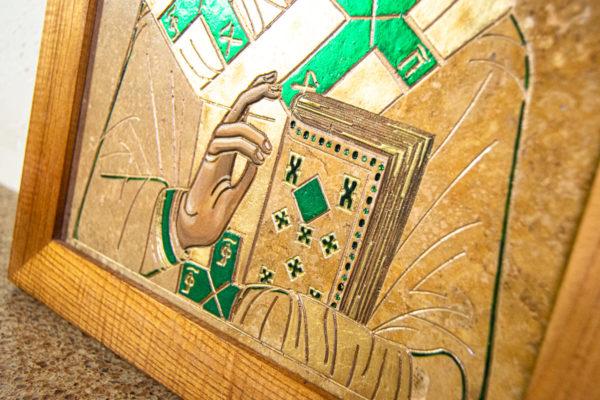 Икона Николая Чудотворца № 5-22 из мрамора, камня, от Гливи, фото 7