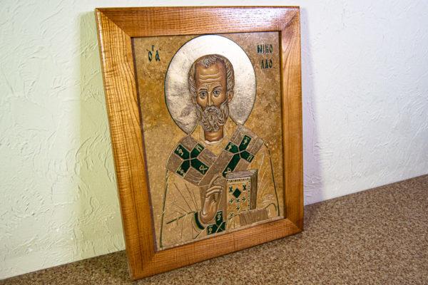 Икона Николая Чудотворца № 5-22 из мрамора, камня, от Гливи, фото 8