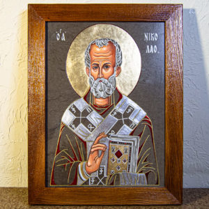 Икона Николая Чудотворца № 3-23 из мрамора, камня, от Гливи, фото 1