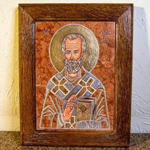 Икона Николая Чудотворца № 5-24 из мрамора, камня, от Гливи, фото 1