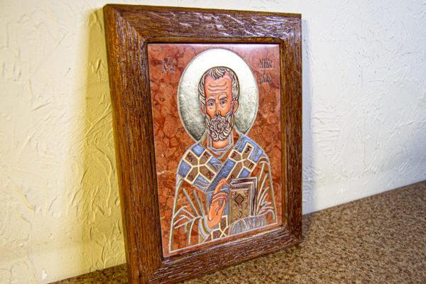 Икона Николая Чудотворца № 5-24 из мрамора, камня, от Гливи, фото 2