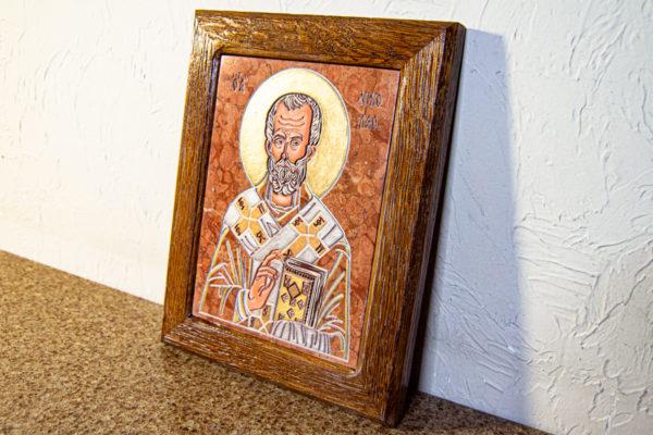 Икона Николая Чудотворца № 5-24 из мрамора, камня, от Гливи, фото 3