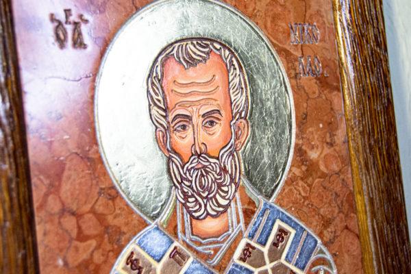 Икона Николая Чудотворца № 5-24 из мрамора, камня, от Гливи, фото 5