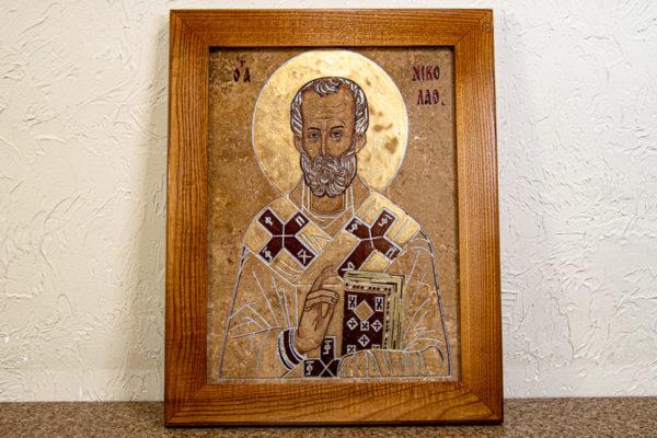 Икона Николая Чудотворца 3-25 из мрамора, камня, от Гливи, фото 1
