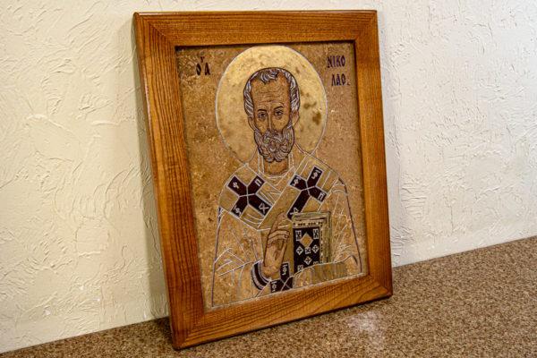 Икона Николая Чудотворца 3-25 из мрамора, камня, от Гливи, фото 6