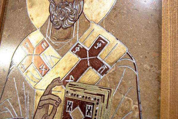 Икона Николая Чудотворца 3-25 из мрамора, камня, от Гливи, фото 2