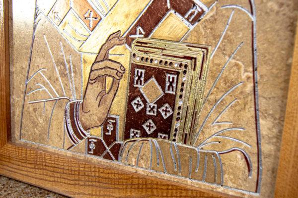 Икона Николая Чудотворца 3-25 из мрамора, камня, от Гливи, фото 8