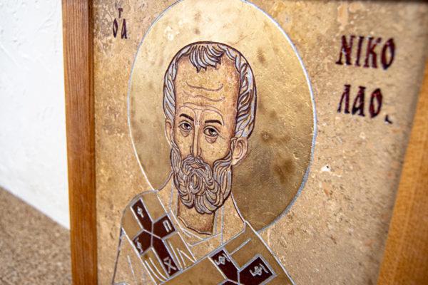 Икона Николая Чудотворца 3-25 из мрамора, камня, от Гливи, фото 3