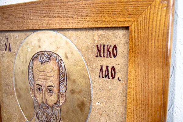 Икона Николая Чудотворца 3-25 из мрамора, камня, от Гливи, фото 4