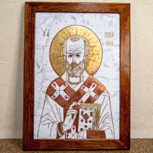 Икона Николая Угодника № 4-21 расписная из мрамора, камня, от Гливи, фото 1
