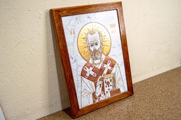 Икона Николая Угодника № 4-21 расписная из мрамора, камня, от Гливи, фото 9