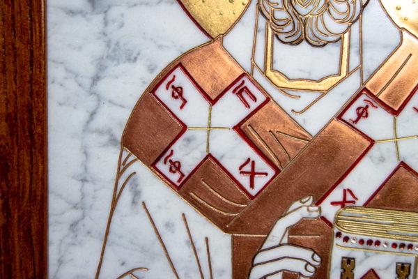Икона Николая Угодника № 4-21 расписная из мрамора, камня, от Гливи, фото 10
