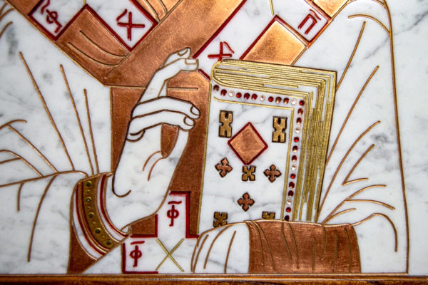 Икона Николая Угодника № 4-21 расписная из мрамора, камня, от Гливи, фото 11