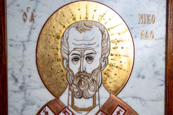 Икона Николая Угодника № 4-21 расписная из мрамора, камня, от Гливи, фото 12