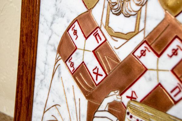 Икона Николая Угодника № 4-21 расписная из мрамора, камня, от Гливи, фото 3
