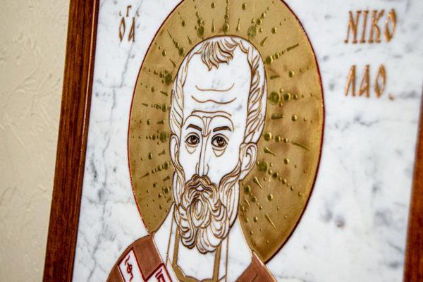 Икона Николая Угодника № 4-21 расписная из мрамора, камня, от Гливи, фото 6